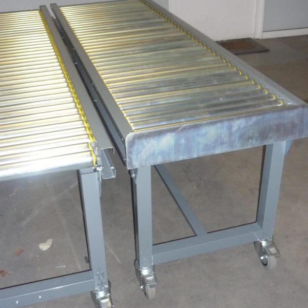 Convoyeur gravitaire à rouleau, acier zingué ou PVC diamètre 50mn